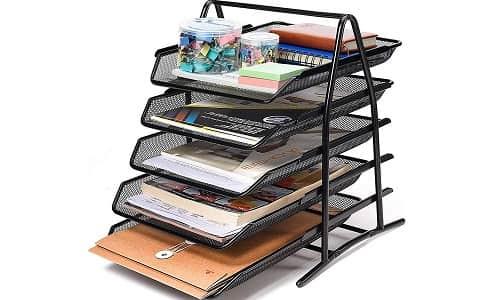 SEPAL 5 Tier Mesh Metal Desk Organizer File Rack