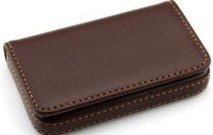 Storite Pocket Sized Stitched Leather Credit Debit Visiting Card Holder